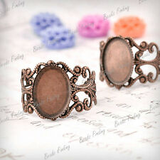 5 Flat Round Antique Copper cabochon settings Filigree Ring Mountings MB0618-3