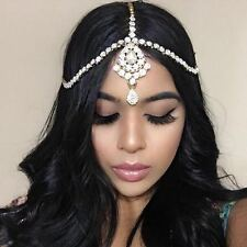 GOLD GODDESS Rhinestone Wedding Prom Head Piece Hair Jewelry Boho Goddess