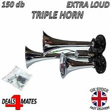 12V 24V Triple Air Horn Chrome Plated Metal Trumpet Truck Lorry Bus Boat 150db
