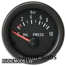 52mm Black Waterproof Oil Pressure BAR gauge ideal Kit Car or Marine