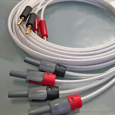 2 x 3m QED Silver Anniversary XT Speaker Cable 4mm & Deltron BFA Plugs Fitted