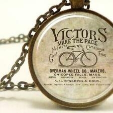 Bike Glass Cabochon Pendant Necklace, Vintage Old Style Bicycle, Gift Jewellery