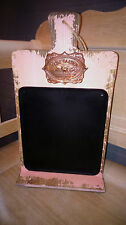 Vintage French Shabby Chic Pink Rose Garden Wooden Wall Hanging Black Board BNWT