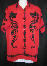 Men's M Dragonfly Clothing Co shirt red w/ black dragon & spine  free shipping
