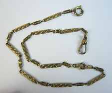 "Antique 13.5"" Gold Filled Pocket Watch Chain Spring Ring & Clip Radio"