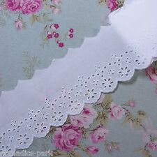 Embroidered Cotton Eyelet Lace Trim  White 5Yard  3.1 inch(8cm) Wide