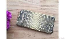 Genuine PYTHON Leather Women Clutch Wallet Long ID Card Purse Baby Yellow #TW78