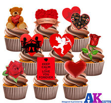 Valentines Day Love Party Pack - 36 Edible Stand Up Cup cake Toppers Hearts Rose