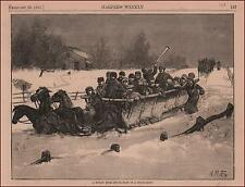 HAY Ride in Snow Drift by A.B.Frost, antique engraving, original 1881