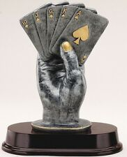 POKER TROPHY Resin Sculpture Trophies FREE ENGRAVING Hand of Cards Full House