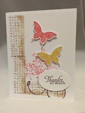 """Card Kit Set Of 4 Stampin Up Timeless Textures Butterflies """"Thanks"""""""