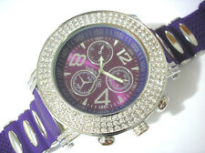 Iced Out Bling Bling Rubber Band Techno King Men's Watch Purple Item 3205