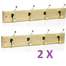 2X 4 Hook Pine Wooden Folding Double Hook Door Hanger Coat Rack Storage Screw On