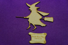 Halloween Witch 12x11cm/120x110mm Craft Embellishment MDF Laser cut wooden shape