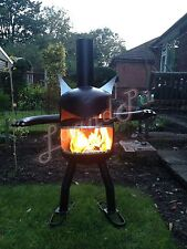 Fire Garden Goblin Gas Bottle Log Wood Burner Chimenea Outdoor Heater Halloween