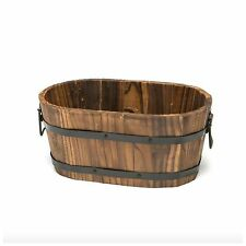Cedar Wooden Whiskey Barrel Pot Planter Outdoor Garden Lawn Plant Flower Decor