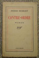 """Pierre HERBART : CONTRE-ORDRE / E.O. 1935/ S.P. / envoi de l'auteur """"à Minerva"""""""