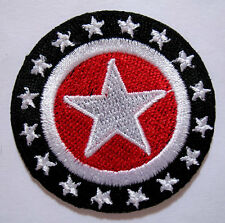 STARS DESIGN Black Round Embroidered Iron on Patch Free Postage
