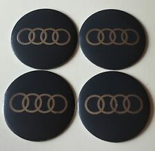 AUDI Wheel Centre Hub Cap Emblems Badges Stickers 57mm full Set of 4 Grey