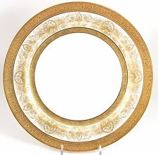 SET 6 DINNER PLATES ANTIQUE AHRENFELDT LIMOGES RAISED GOLD PASTE ENCRUSTED
