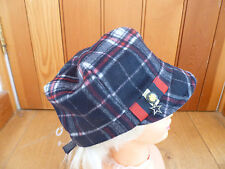 MONSOON ACCESSORIZE NAVY BLUE RED WHITE CHECK WOOL MILITARY BAKER BOY HAT CAP