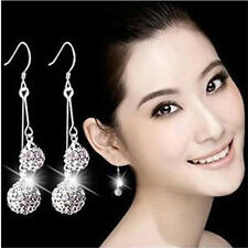 Fashion Women Silver Plated Crystal Ear Stud Earrings Hook Dangle New Jewelry