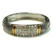 Silver and Gold Toned Hinged Bangle with Rectangle Clear Rhinestones