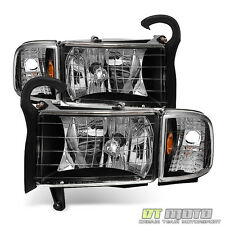 Black 1994-2001 Dodge Ram 1500 Headlights Signal Lights Corner Lamps Left+Right