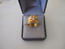 BEAUTIFUL LARGE GLAM BRUSHED GOLD COCKTAIL RING *2pc*  SIZE 9 * 14K GE by ESPO
