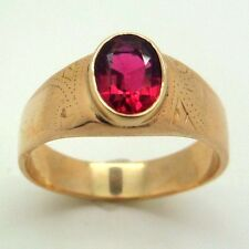 Vintage 14K Rose Gold and Ruby (?) Signet Ring Band Size 12