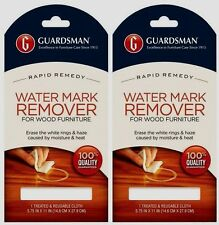 2 Guardsman Water Mark & Glass Ring Stain Remover Re-Usable Cloth Wood Furniture