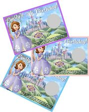 SOFIA THE FIRST PERSONLIZED SCRATCH OFF OFFS PARTY GAME CARDS BIRTHDAY FAVORS