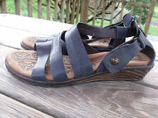 """Woman's Size 10 Born Sandal Shoes-Blue Leather Strappy 3/4"""" Heel"""