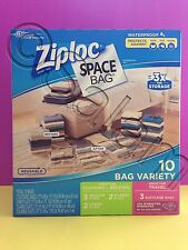 Ziploc Space Bag Vacuum Seal Storage Bags Waterproof Variety Pack 10 Count NEW