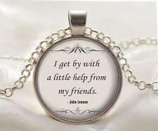 Book quote Cabochon Glass silver necklace for women men Jewelry Q#143