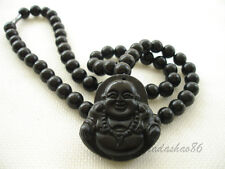 Black Bian Stone Necklace With Lucky Budda Pendant Carved
