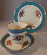 Royal Worcester Hand Painted Floral Gilded Blue Trio 1880 Teacup Saucer Plate VG