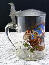 """schöner alter Glashumpen""""Kegel-Pokal""""ca.um 1880 Emaille-Malerei Zinndeckel"""