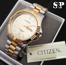Men Luxury Citizen Stainless Steel Two Tone Analog Round Metal Band Dress Watch