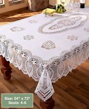 "White Crochet Lace Vinyl Tablecloth Vintage Look Protect Kitchen Table 54"" x 72"""