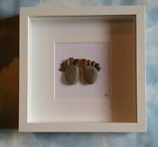 Handmade Beach Pebble Framed Wall Art Picture Baby Feet Christening Unique Gift