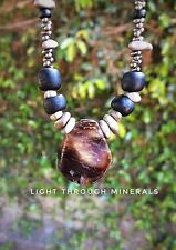 Agate hematite glass beaded necklace, Tribal primitive, EARRINGS SOLD SEPARATELY