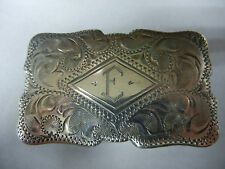 "Vintage Sterling Silver ""E"" Belt Buckle"