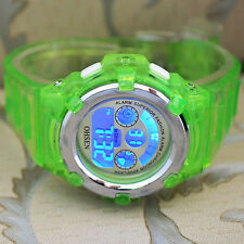OHSEN 7Color Funny LED Light Sport Digital Crystal Green Men Boys Quartz Watches