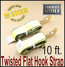 """2x Wheel Lift Repo Crossover Strap 2""""x10' Tow Truck Flatbed Hauler Hook Straps"""