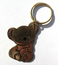 Vintage 1970'S Gold Color Cuddly Koala Bear Key Ring Key Chain by RUSS
