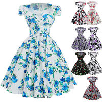 New Vintage 1950s Style Floral Pattern Swing Circle Evening Pin Up Party Dress