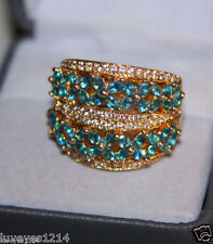 Ross Simons 18k Yellow Gold Vermeil/Sterling silver Bright Aqua Blue wide Ring