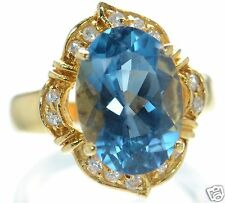 Gold Over Solid 925 Sterling Silver Oval Genuine Blue Topaz Ring Sz- 6 '