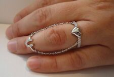 LUCKY HORSE SHOE & HEART SLAVE RING W/ ACCENTS /925 STERLING SILVER/SZ 5 TO 9